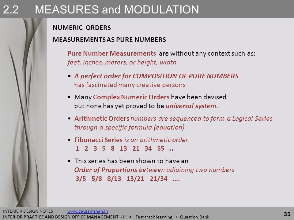 2.2 MEASURES and MODULATION NUMERIC ORDERS 35 INTERIOR DESIGN NOTES www.gautamshah.inwww.gautamshah.in INTERIOR PRACTICE AND DESIGN OFFICE MANAGEMENT