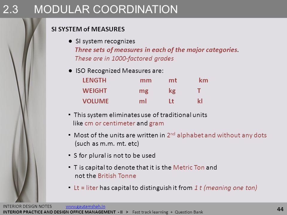 2.3 MODULAR COORDINATION SI SYSTEM of MEASURES 44 INTERIOR DESIGN NOTES www.gautamshah.inwww.gautamshah.in INTERIOR PRACTICE AND DESIGN OFFICE MANAGEM