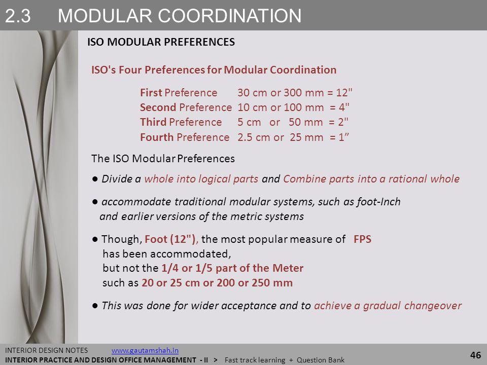 2.3 MODULAR COORDINATION ISO MODULAR PREFERENCES 46 INTERIOR DESIGN NOTES www.gautamshah.inwww.gautamshah.in INTERIOR PRACTICE AND DESIGN OFFICE MANAG