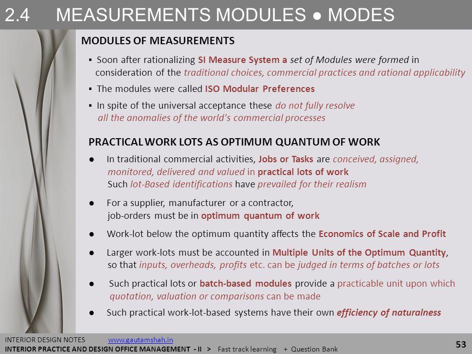 2.4 MEASUREMENTS MODULES ● MODES MODULES OF MEASUREMENTS 53 INTERIOR DESIGN NOTES www.gautamshah.inwww.gautamshah.in INTERIOR PRACTICE AND DESIGN OFFI