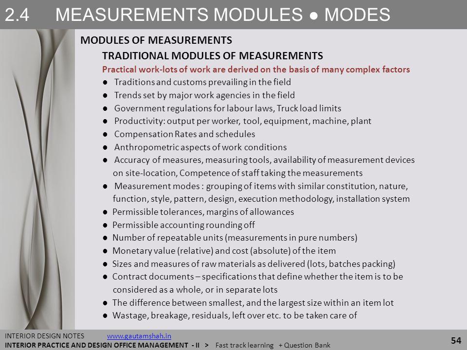 2.4 MEASUREMENTS MODULES ● MODES MODULES OF MEASUREMENTS 54 INTERIOR DESIGN NOTES www.gautamshah.inwww.gautamshah.in INTERIOR PRACTICE AND DESIGN OFFI