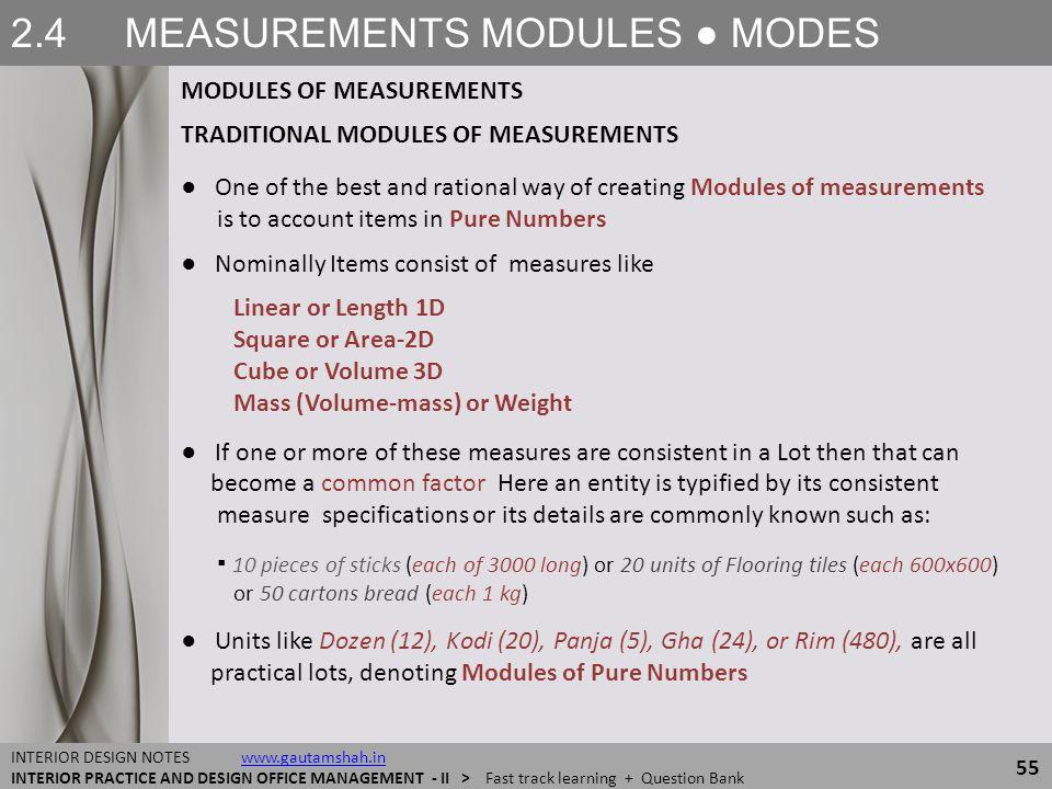 2.4 MEASUREMENTS MODULES ● MODES MODULES OF MEASUREMENTS 55 INTERIOR DESIGN NOTES www.gautamshah.inwww.gautamshah.in INTERIOR PRACTICE AND DESIGN OFFI
