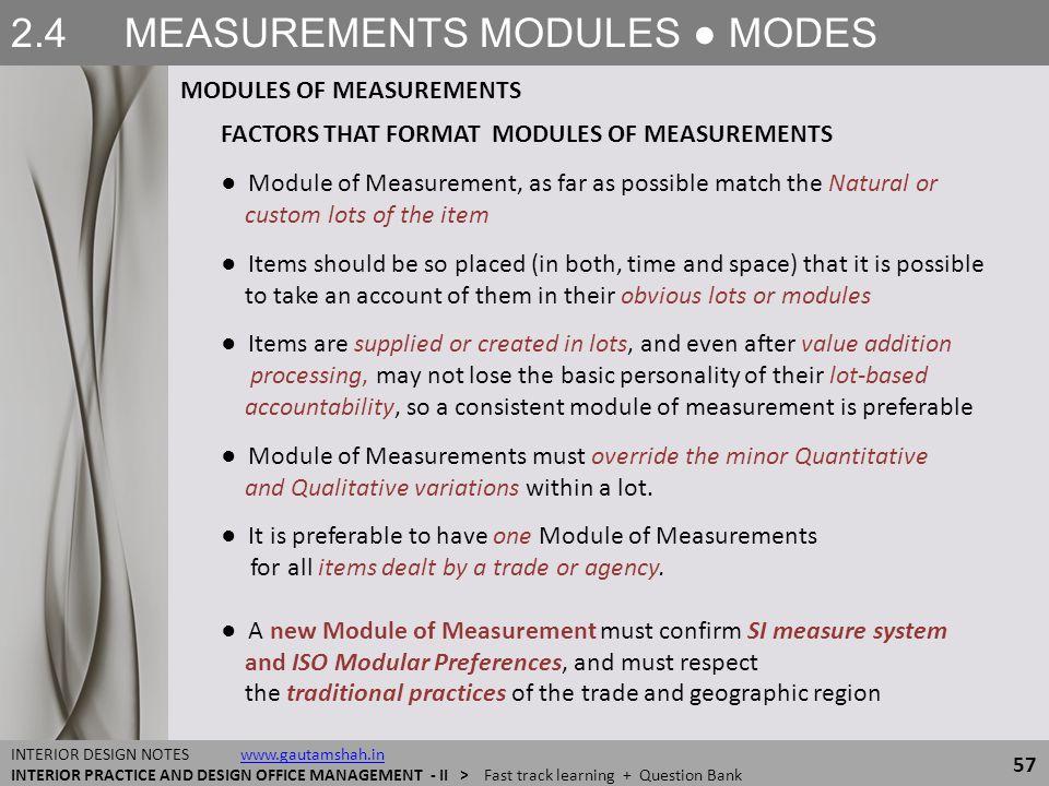 2.4 MEASUREMENTS MODULES ● MODES MODULES OF MEASUREMENTS 57 INTERIOR DESIGN NOTES www.gautamshah.inwww.gautamshah.in INTERIOR PRACTICE AND DESIGN OFFI