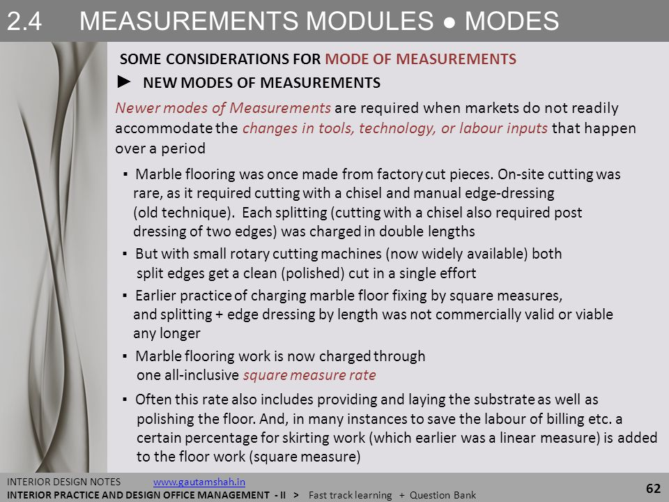 2.4 MEASUREMENTS MODULES ● MODES 62 INTERIOR DESIGN NOTES www.gautamshah.inwww.gautamshah.in INTERIOR PRACTICE AND DESIGN OFFICE MANAGEMENT - II > Fas