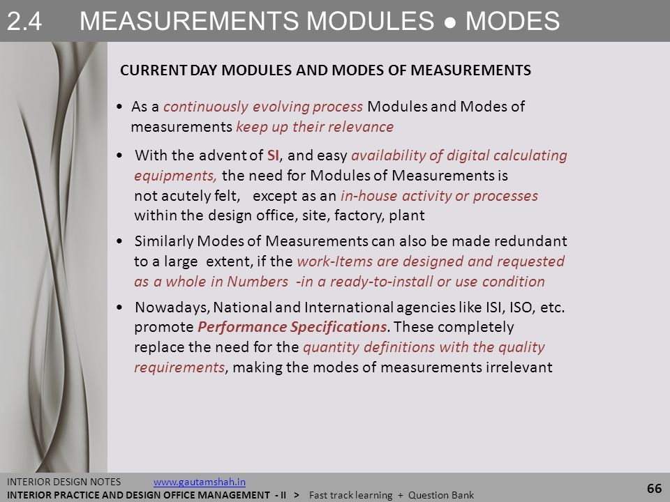 2.4 MEASUREMENTS MODULES ● MODES 66 INTERIOR DESIGN NOTES www.gautamshah.inwww.gautamshah.in INTERIOR PRACTICE AND DESIGN OFFICE MANAGEMENT - II > Fas