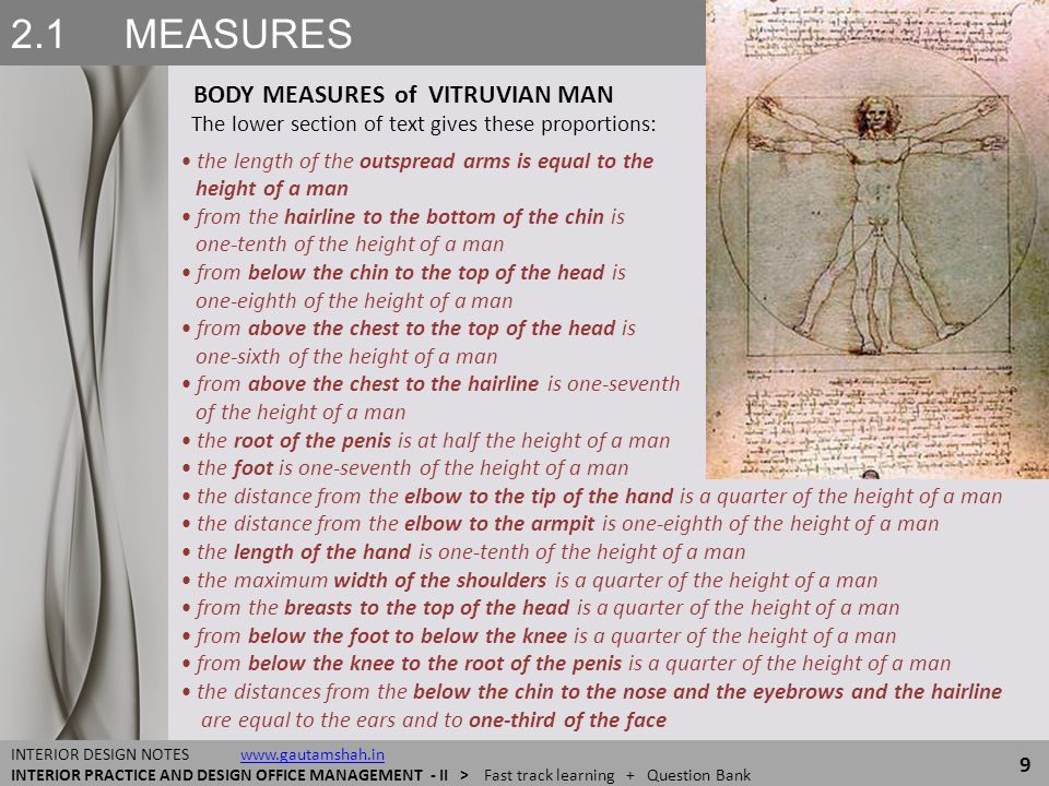 2.1 MEASURES BODY MEASURES of VITRUVIAN MAN 9 INTERIOR DESIGN NOTES www.gautamshah.inwww.gautamshah.in INTERIOR PRACTICE AND DESIGN OFFICE MANAGEMENT