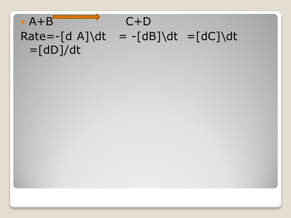 A+B C+D Rate=-[d A]\dt = -[dB]\dt =[dC]\dt =[dD]/dt