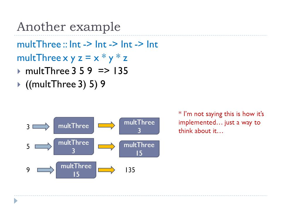 Another example multThree :: Int -> Int -> Int -> Int multThree x y z = x * y * z  multThree 3 5 9 => 135  ((multThree 3) 5) 9 multThree 3 5 9 multThree 3 multThree 3 multThree 15 135 * I'm not saying this is how it's implemented… just a way to think about it…