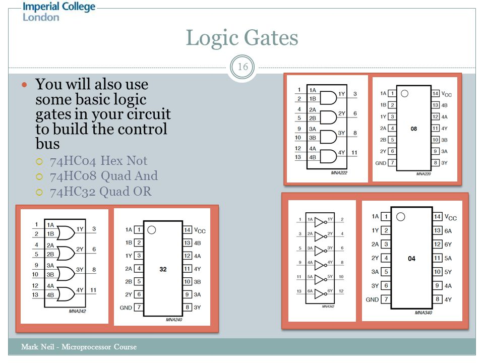 Logic Gates Mark Neil - Microprocessor Course 16 You will also use some basic logic gates in your circuit to build the control bus  74HC04 Hex Not  74HC08 Quad And  74HC32 Quad OR
