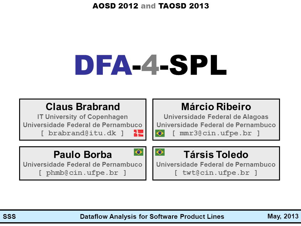 Dataflow Analysis for Software Product Lines May, 2013 SSS Dataflow Analysis for Software Product Lines DFA-4-SPL Claus Brabrand IT University of Cope