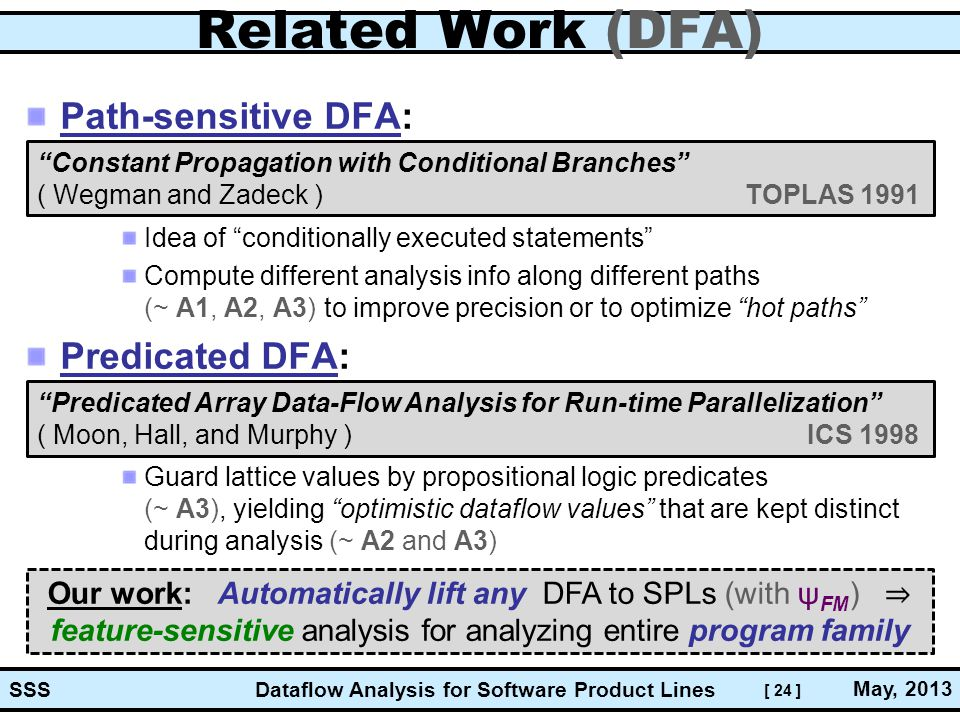 [ 24 ] Dataflow Analysis for Software Product Lines May, 2013 SSS Related Work (DFA) Path-sensitive DFA: Idea of conditionally executed statements Compute different analysis info along different paths (~ A1, A2, A3) to improve precision or to optimize hot paths Predicated DFA: Guard lattice values by propositional logic predicates (~ A3), yielding optimistic dataflow values that are kept distinct during analysis (~ A2 and A3) Constant Propagation with Conditional Branches ( Wegman and Zadeck ) TOPLAS 1991 Predicated Array Data-Flow Analysis for Run-time Parallelization ( Moon, Hall, and Murphy ) ICS 1998 Our work: Automatically lift any DFA to SPLs (with ψ FM ) ⇒ feature-sensitive analysis for analyzing entire program family