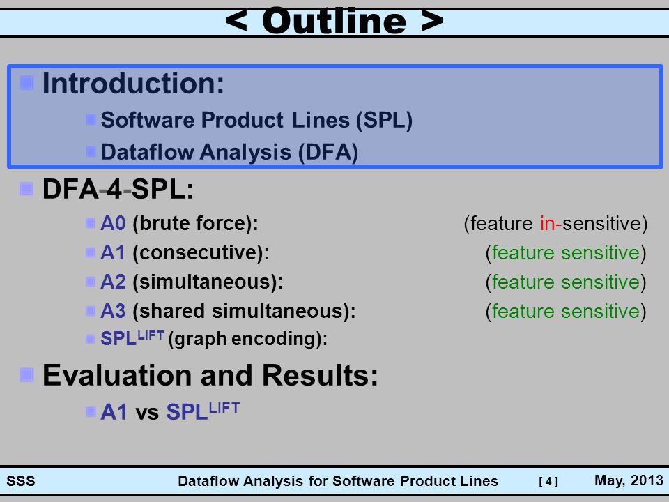 [ 4 ] Dataflow Analysis for Software Product Lines May, 2013 SSS Introduction: Software Product Lines (SPL) Dataflow Analysis (DFA) DFA-4-SPL: A0 (bru