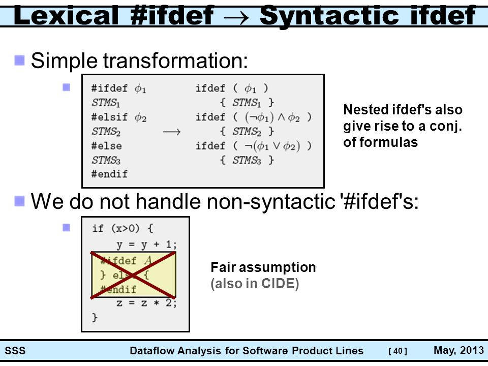 [ 40 ] Dataflow Analysis for Software Product Lines May, 2013 SSS Lexical #ifdef  Syntactic ifdef Simple transformation: We do not handle non-syntactic #ifdef s: Fair assumption (also in CIDE) Nested ifdef s also give rise to a conj.