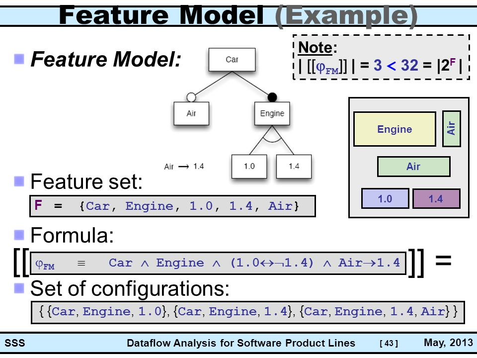 [ 43 ] Dataflow Analysis for Software Product Lines May, 2013 SSS Feature Model (Example) Feature Model: Feature set: Formula: Set of configurations:  FM  Car  Engine  (1.0  1.4)  Air  1.4 { { Car, Engine, 1.0 }, { Car, Engine, 1.4 }, { Car, Engine, 1.4, Air } } F = {Car, Engine, 1.0, 1.4, Air} Note: | [[  FM ]] | = 3 < 32 = |2 F | [[ ]] = Engine 1.0 Air 1.4