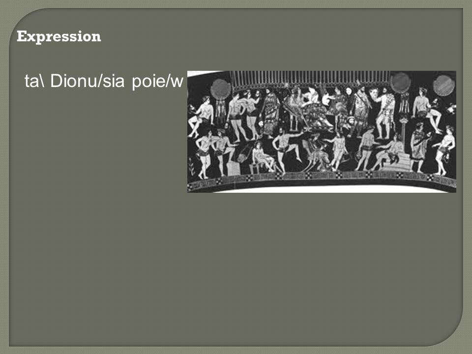 Expression ta\ Dionu/sia poie/w