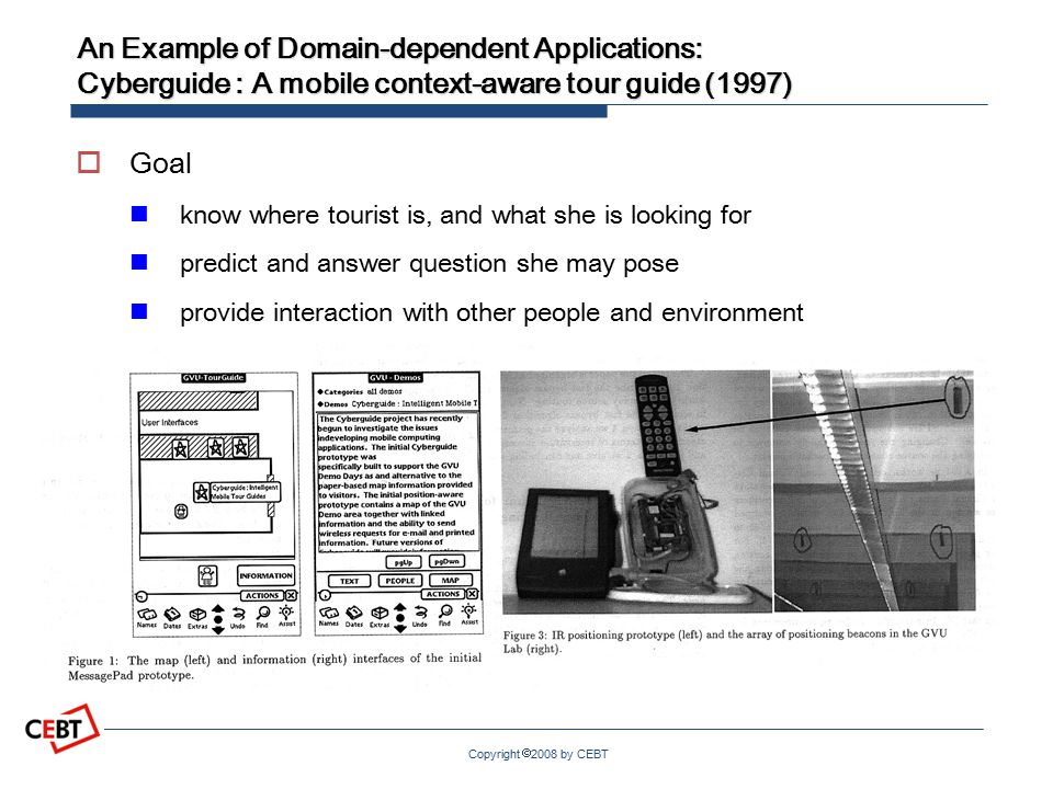 Copyright  2008 by CEBT An Example of Domain-dependent Applications: Cyberguide : A mobile context-aware tour guide (1997)  Goal know where tourist is, and what she is looking for predict and answer question she may pose provide interaction with other people and environment