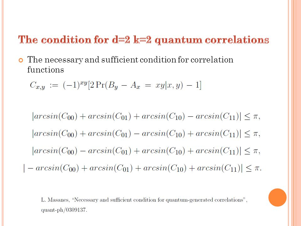The necessary and sufficient condition for correlation functions
