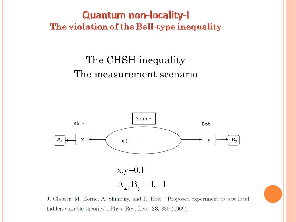The CHSH inequality The measurement scenario