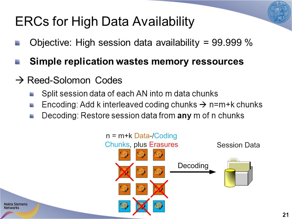 ERCs for High Data Availability Objective: High session data availability = 99.999 % Simple replication wastes memory ressources  Reed-Solomon Codes Split session data of each AN into m data chunks Encoding: Add k interleaved coding chunks  n=m+k chunks Decoding: Restore session data from any m of n chunks 21