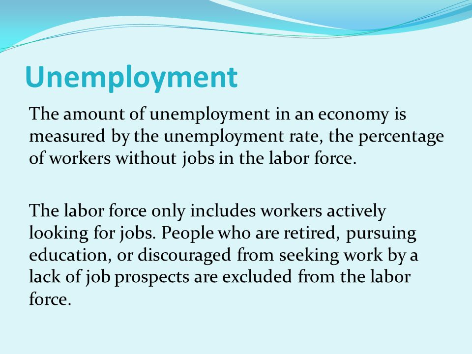 The amount of unemployment in an economy is measured by the unemployment rate, the percentage of workers without jobs in the labor force. The labor fo