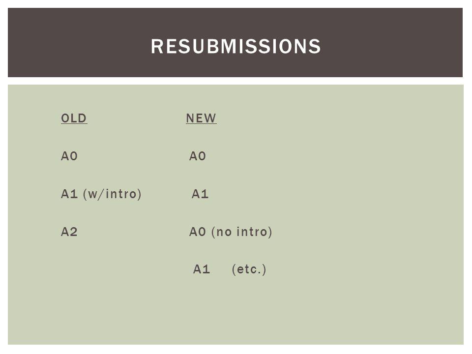 OLD NEW A0 A0 A1 (w/intro) A1 A2 A0 (no intro) A1 (etc.) RESUBMISSIONS