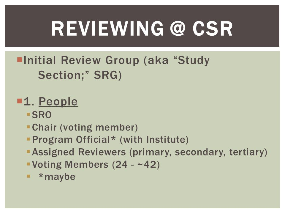 " Initial Review Group (aka ""Study Section;"" SRG)  1. People  SRO  Chair (voting member)  Program Official* (with Institute)  Assigned Reviewers"