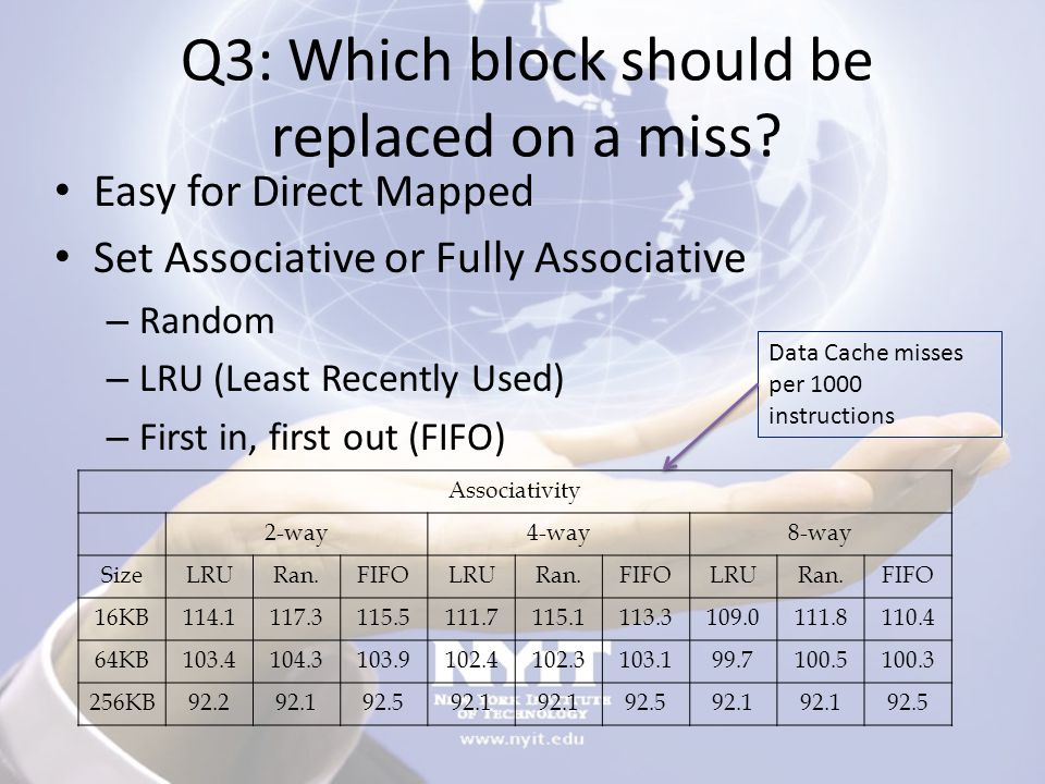 Q3: Which block should be replaced on a miss.