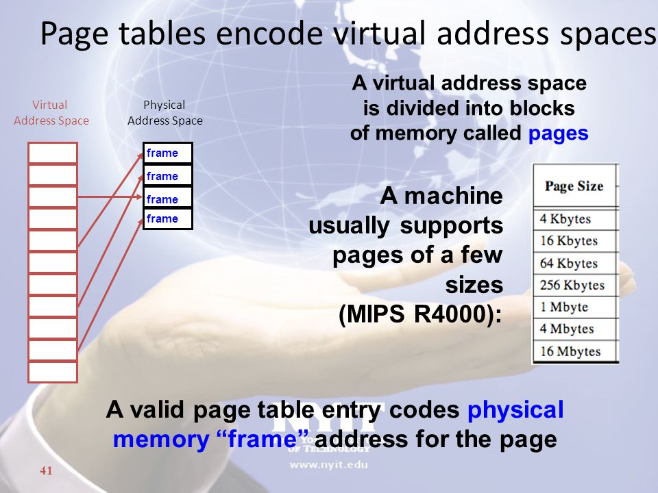 Page tables encode virtual address spaces A machine usually supports pages of a few sizes (MIPS R4000): A valid page table entry codes physical memory frame address for the page A virtual address space is divided into blocks of memory called pages Physical Address Space Virtual Address Space frame 41