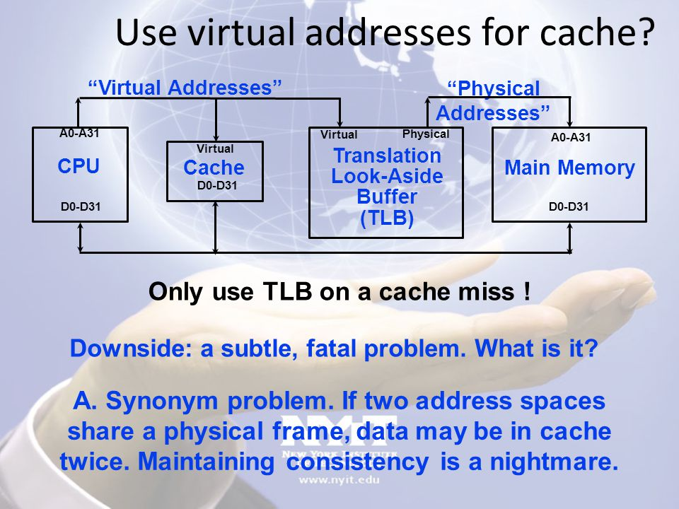 Use virtual addresses for cache.