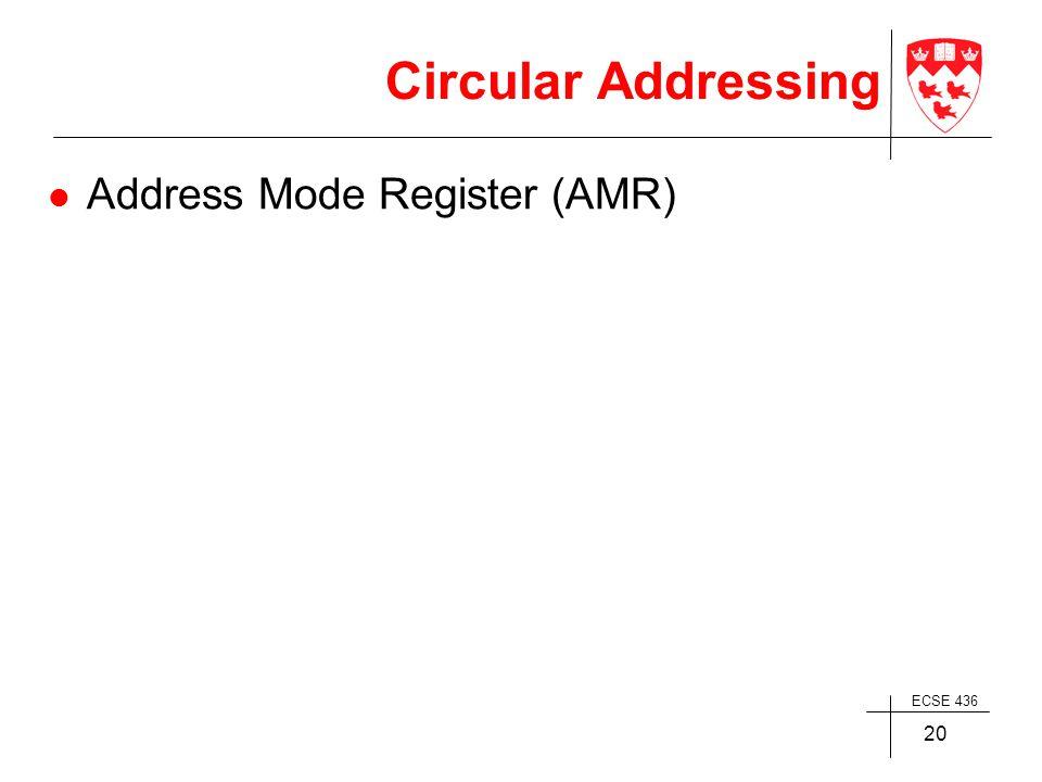 ECSE 436 20 Circular Addressing Address Mode Register (AMR)