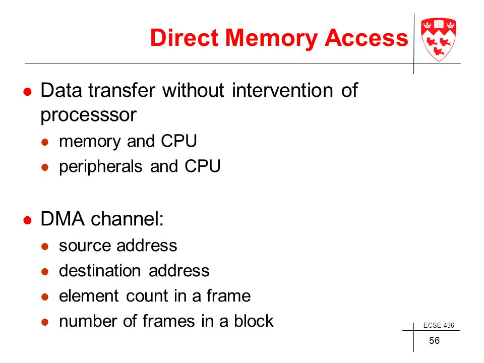 ECSE 436 56 Direct Memory Access Data transfer without intervention of processsor memory and CPU peripherals and CPU DMA channel: source address destination address element count in a frame number of frames in a block