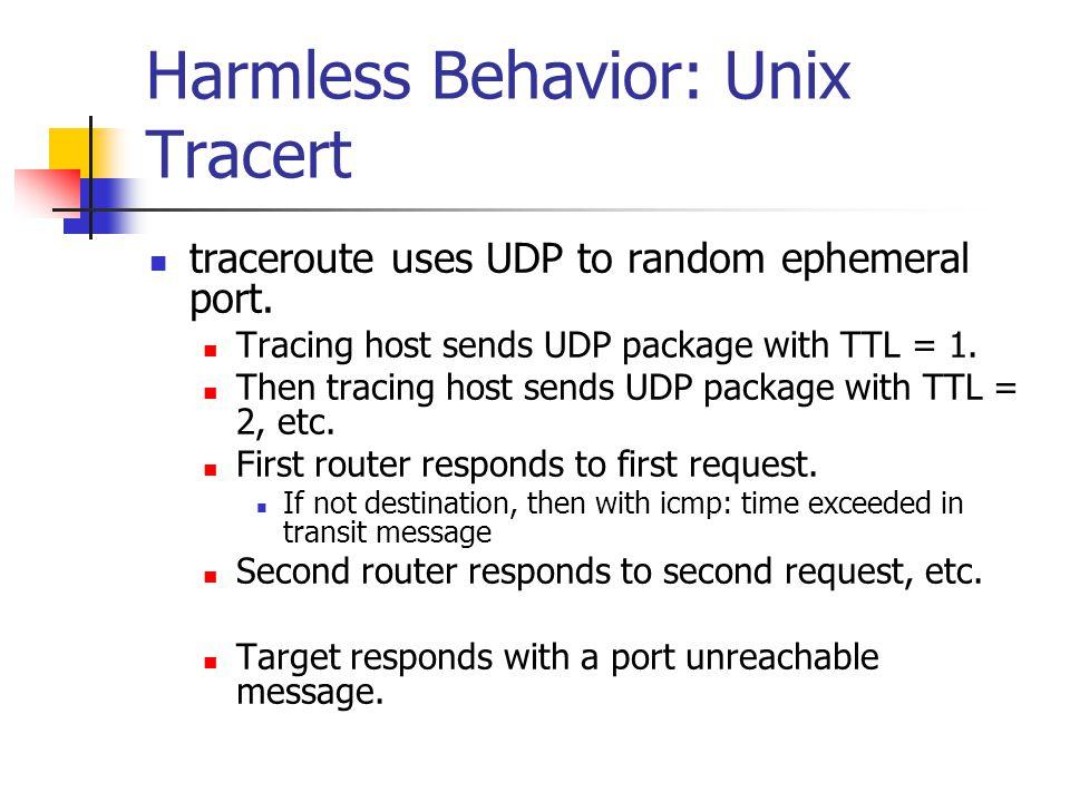 Harmless Behavior: Unix Tracert traceroute uses UDP to random ephemeral port. Tracing host sends UDP package with TTL = 1. Then tracing host sends UDP