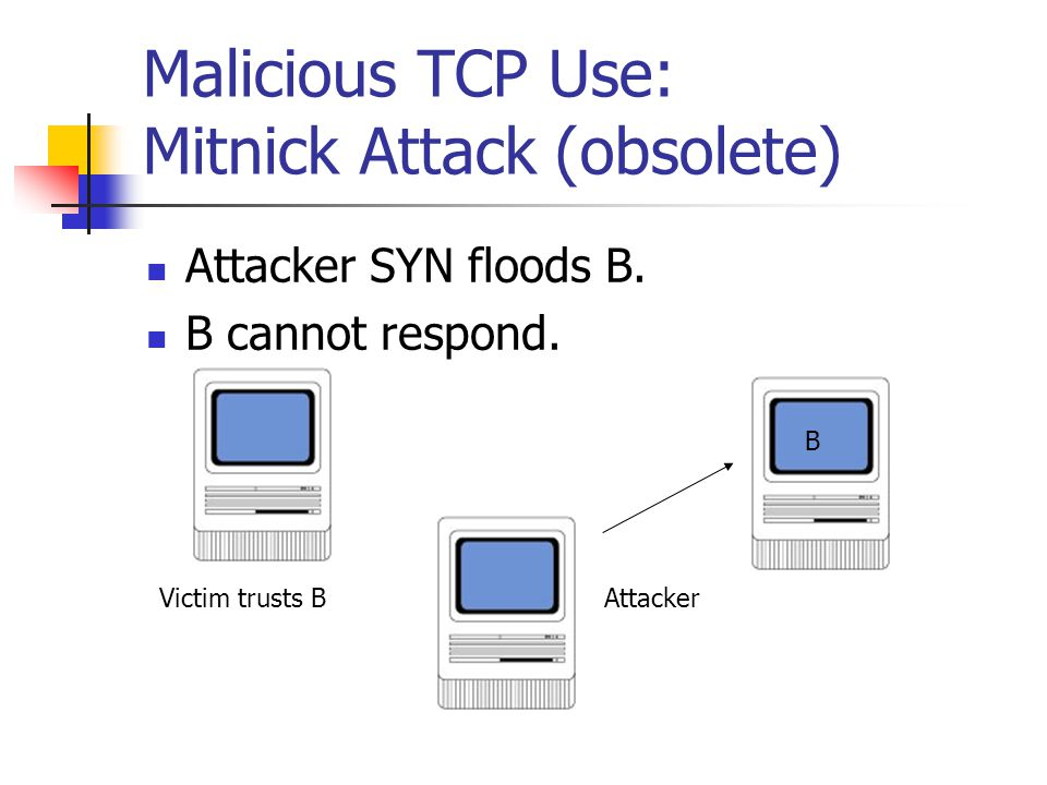 Malicious TCP Use: Mitnick Attack (obsolete) Attacker SYN floods B.