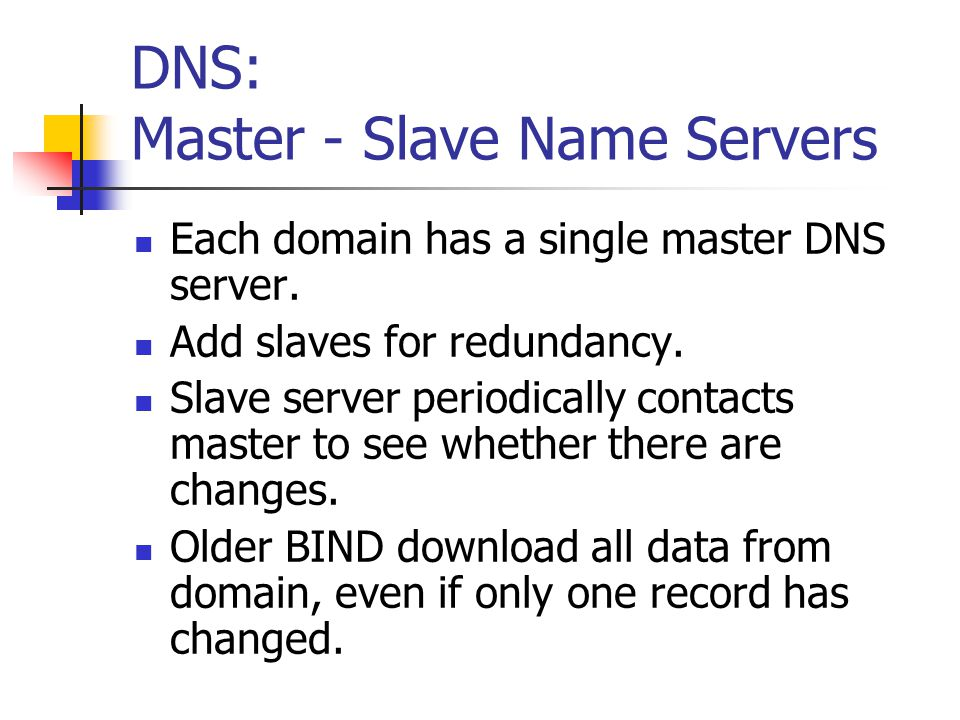 DNS: Master - Slave Name Servers Each domain has a single master DNS server.