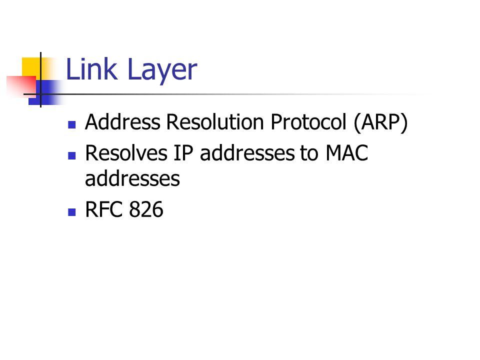 Link Layer Address Resolution Protocol (ARP) Resolves IP addresses to MAC addresses RFC 826