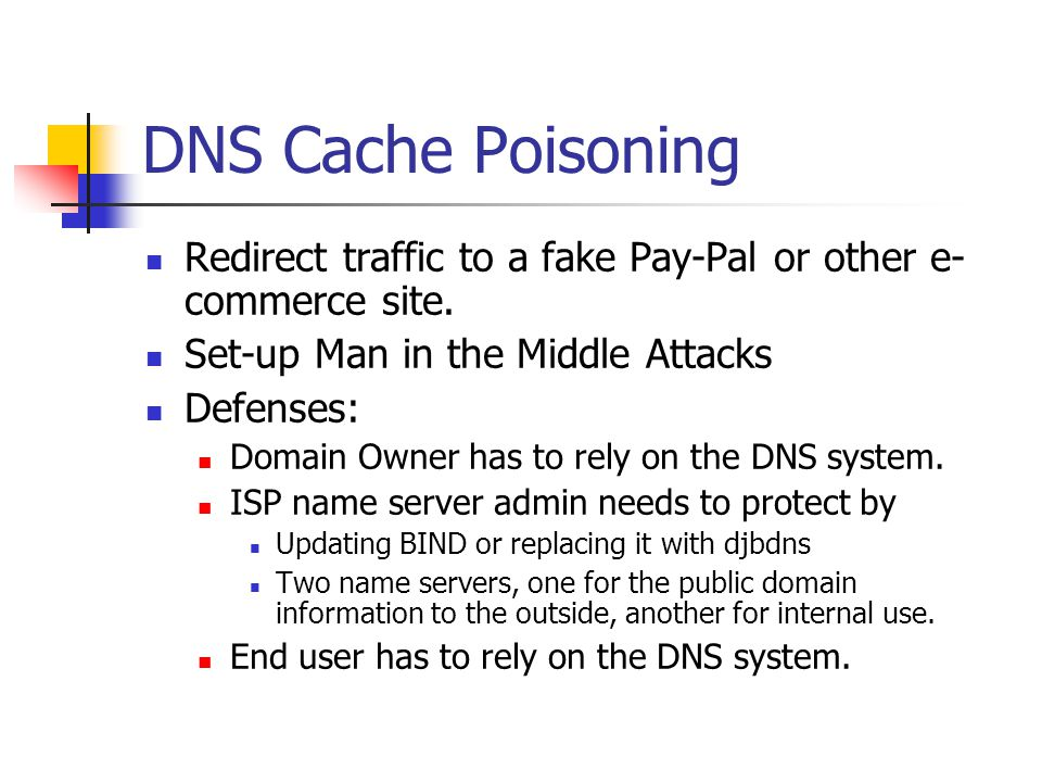 DNS Cache Poisoning Redirect traffic to a fake Pay-Pal or other e- commerce site. Set-up Man in the Middle Attacks Defenses: Domain Owner has to rely