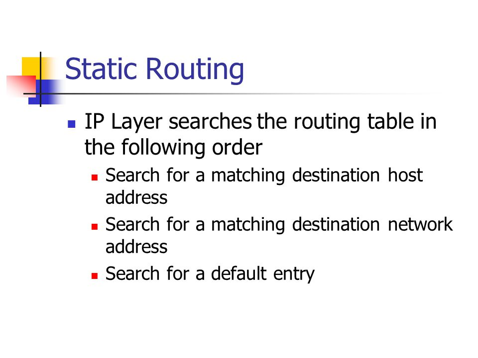 Static Routing IP Layer searches the routing table in the following order Search for a matching destination host address Search for a matching destination network address Search for a default entry