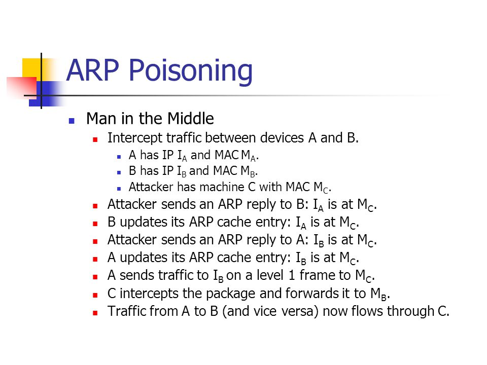 ARP Poisoning Man in the Middle Intercept traffic between devices A and B. A has IP I A and MAC M A. B has IP I B and MAC M B. Attacker has machine C