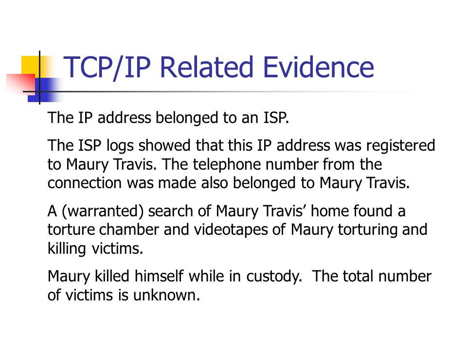 TCP/IP Related Evidence The IP address belonged to an ISP.