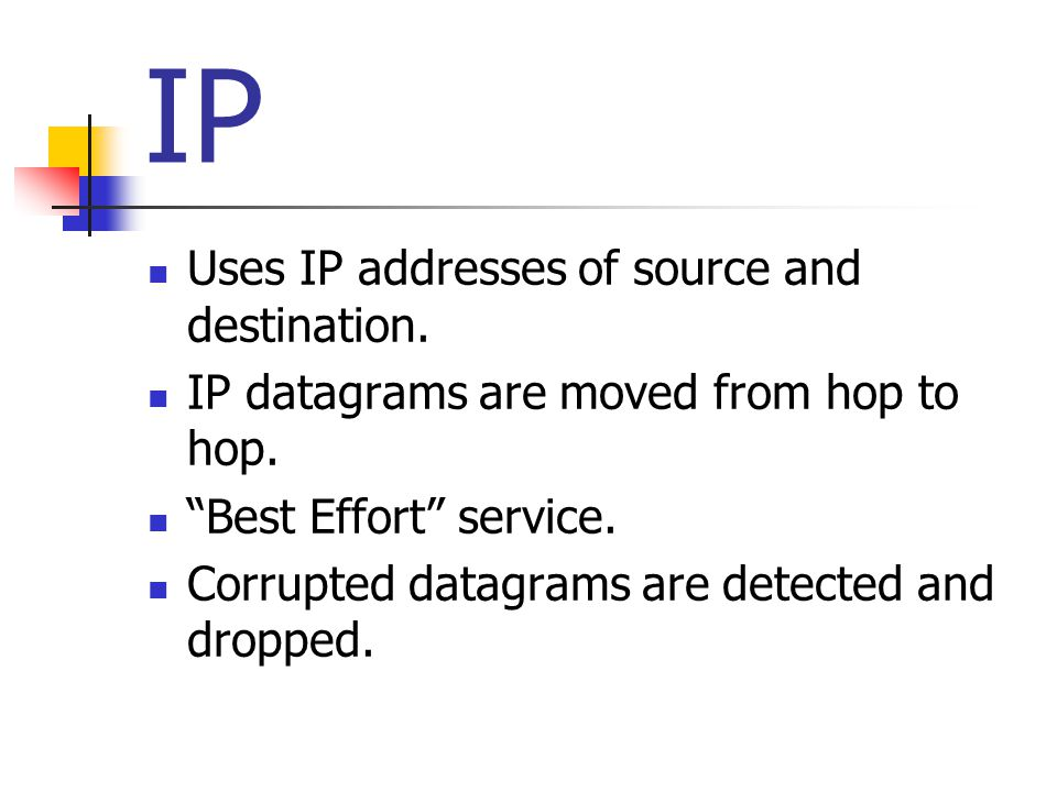 """IP Uses IP addresses of source and destination. IP datagrams are moved from hop to hop. """"Best Effort"""" service. Corrupted datagrams are detected and dr"""