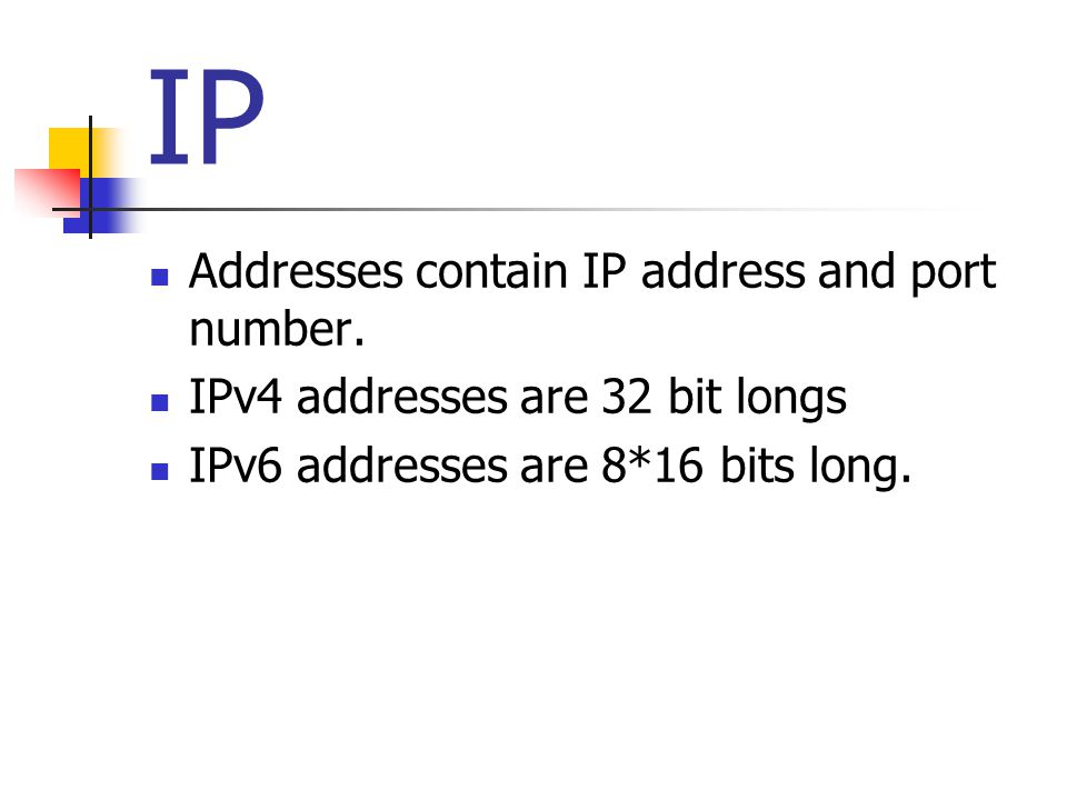 IP Addresses contain IP address and port number.