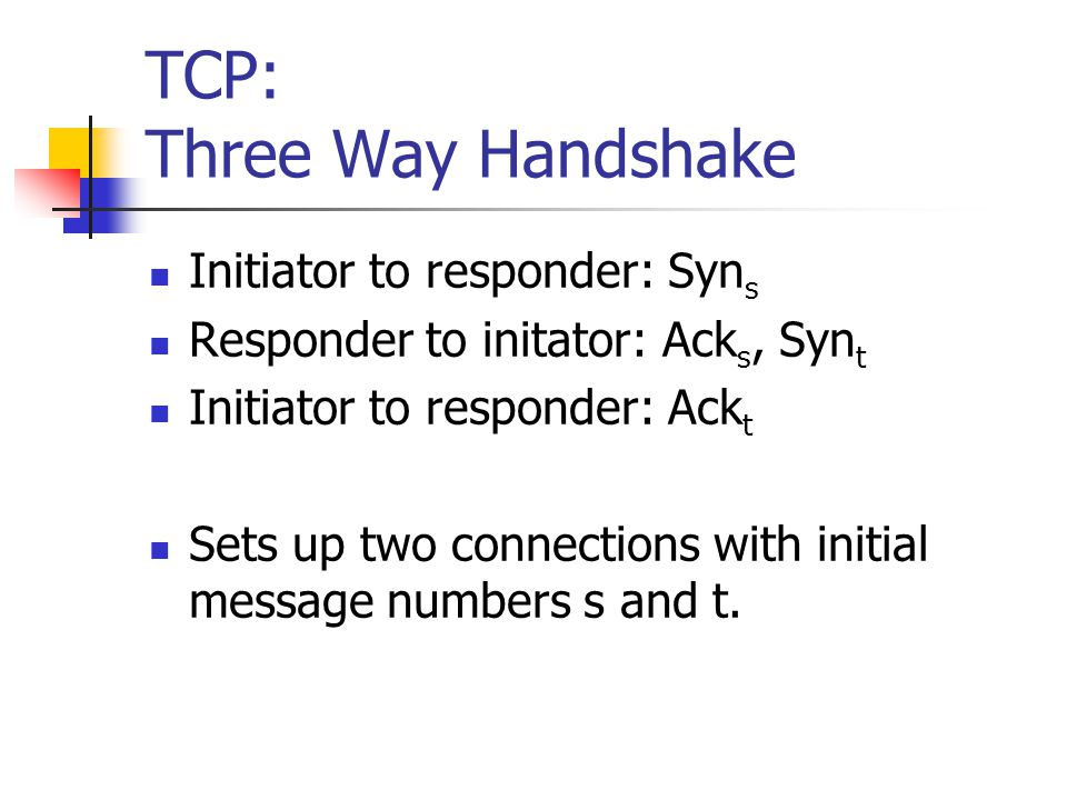 TCP: Three Way Handshake Initiator to responder: Syn s Responder to initator: Ack s, Syn t Initiator to responder: Ack t Sets up two connections with initial message numbers s and t.