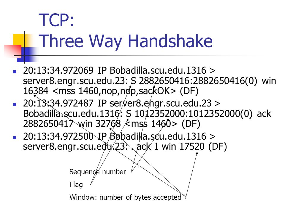 TCP: Three Way Handshake 20:13:34.972069 IP Bobadilla.scu.edu.1316 > server8.engr.scu.edu.23: S 2882650416:2882650416(0) win 16384 (DF) 20:13:34.972487 IP server8.engr.scu.edu.23 > Bobadilla.scu.edu.1316: S 1012352000:1012352000(0) ack 2882650417 win 32768 (DF) 20:13:34.972500 IP Bobadilla.scu.edu.1316 > server8.engr.scu.edu.23:.