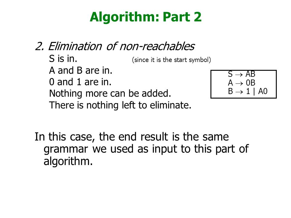 Algorithm: Part 2 2. Elimination of non-reachables S is in. (since it is the start symbol) A and B are in. 0 and 1 are in. Nothing more can be added.