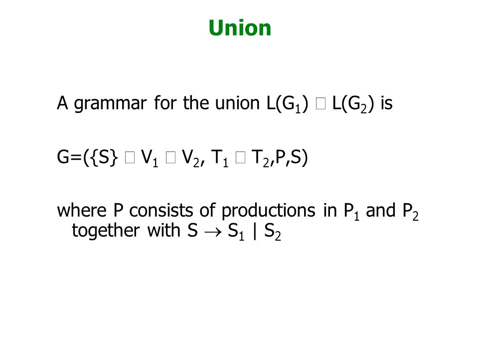 Unit Productions These are of the form A  B, where A,B are variables.