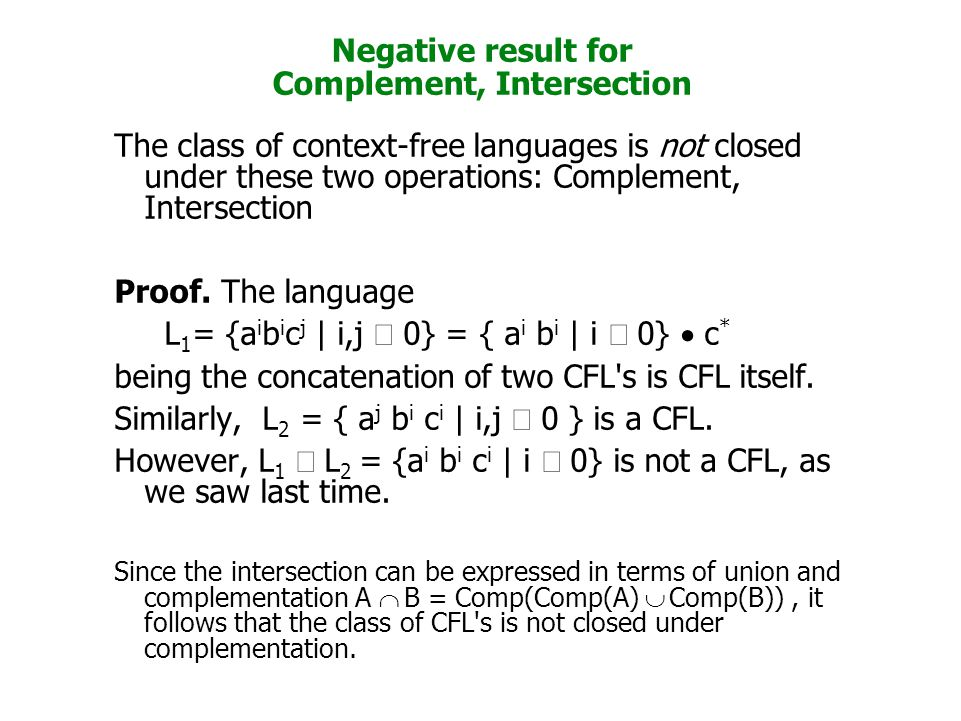 Negative result for Complement, Intersection The class of context-free languages is not closed under these two operations: Complement, Intersection Pr