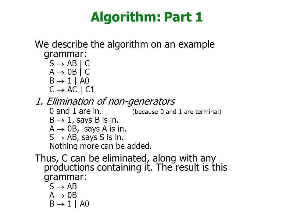 Algorithm: Part 1 We describe the algorithm on an example grammar: S  AB | C A  0B | C B  1 | A0 C  AC | C1 1. Elimination of non-generators 0 and