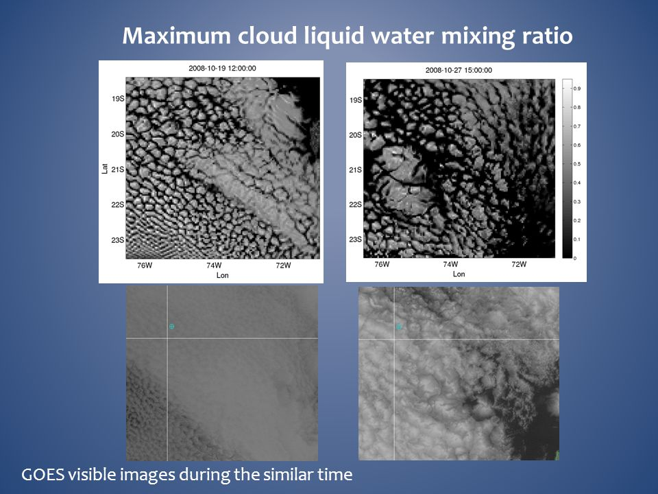 GOES visible images during the similar time Maximum cloud liquid water mixing ratio