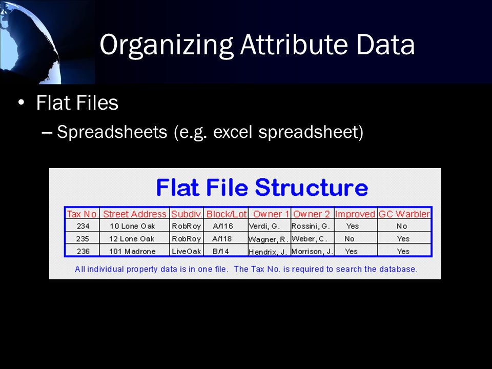 Organizing Attribute Data Flat Files – Spreadsheets (e.g. excel spreadsheet)