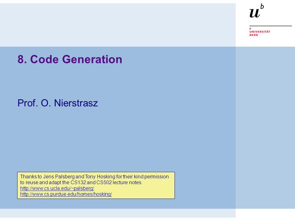© Oscar Nierstrasz xxx 32 Roadmap  Runtime storage organization  Procedure call conventions  Instruction selection  Register allocation  Example: generating Java bytecode